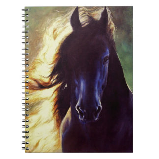 """Friesian Glow"" black horse, stallion Note Books"
