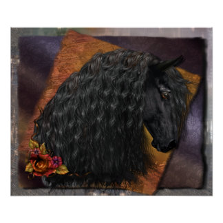 """Friesian Horse 24""""x20"""" Value Poster, Options Poster"""