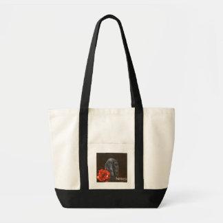 Friesian Horse Bitten tote Bags
