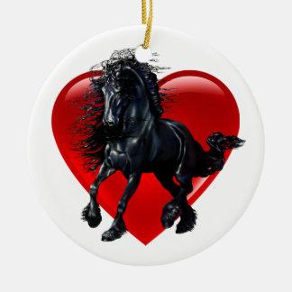 Friesian horse, black stallion, black beauty heart ceramic ornament