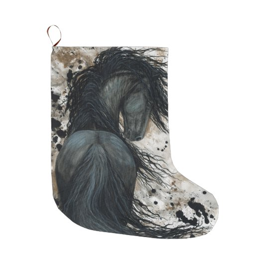 Friesian Horse by Bihrle Christmas Stocking Large Christmas Stocking