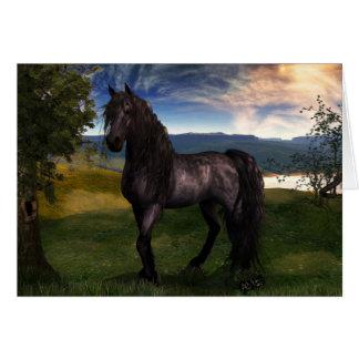 Friesian Horse Custom Art Greeting Card