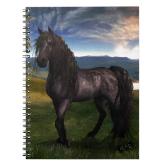 Friesian Horse Custom Art Spiral Notebooks