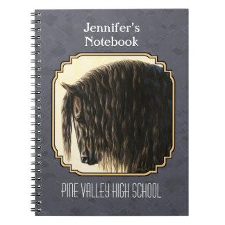 Friesian Horse Dark Slate Gray Notebook