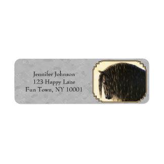 Friesian Horse Gray Return Address Label