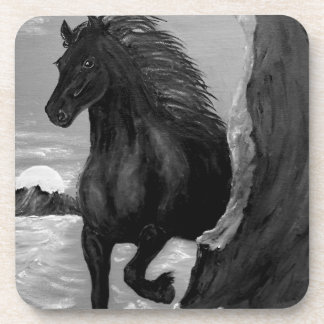 Friesian Horse in the Surf Beverage Coaster