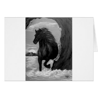 Friesian Horse in the Surf Greeting Card