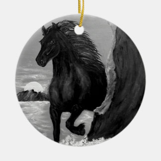Friesian Horse in the Surf Round Ceramic Ornament