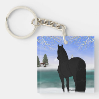 Friesian Horse in Winter Single-Sided Square Acrylic Keychain
