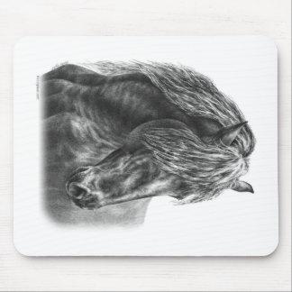 Friesian Horse Portrait Wavy Mane Mouse Pad