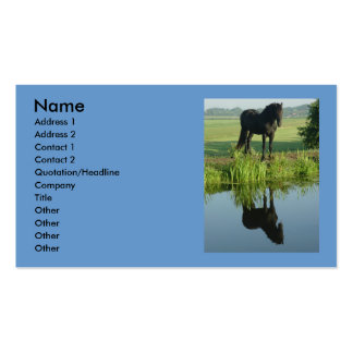 Friesian Horse Reflection in water Double-Sided Standard Business Cards (Pack Of 100)