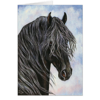 Friesian Horse Study Greeting Card