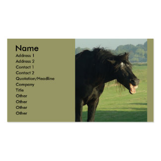 Friesian Horse Yawning Double-Sided Standard Business Cards (Pack Of 100)