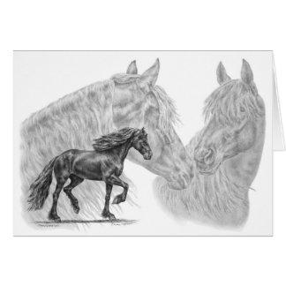 Friesian Horses Drawing by Kelli Swan Greeting Card