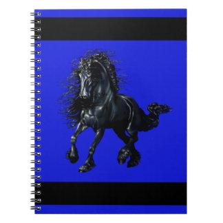 Friesian stallion, black beauty horse, blue notebooks