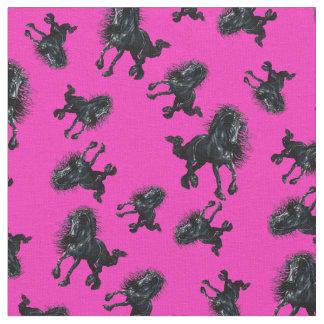 Friesian stallion/black beauty horse, bright pink fabric