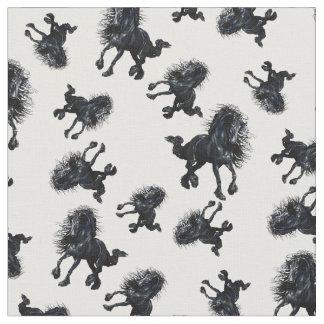 Friesian stallion, black beauty horse fabric