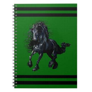 Friesian stallion, black beauty horse, green notebook