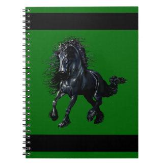 Friesian stallion, black beauty horse, green notebooks