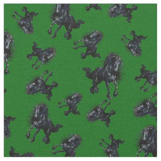 Friesian stallion/black beauty horse, Island green Fabric