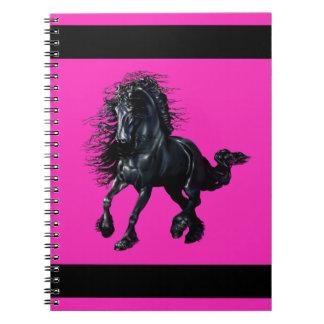 Friesian stallion, black beauty horse, pink notebook