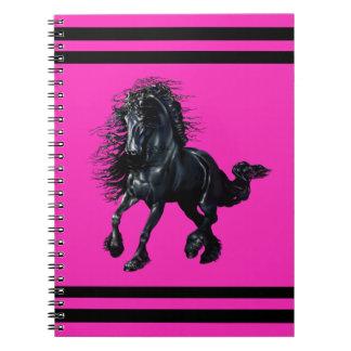 Friesian stallion, black beauty horse, pink notebooks