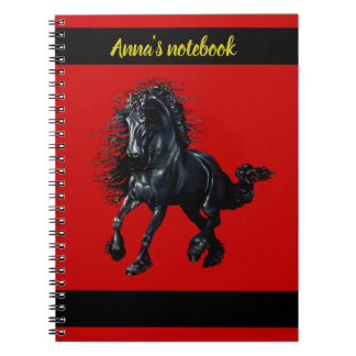 Friesian stallion, black beauty horse, red/name spiral notebook