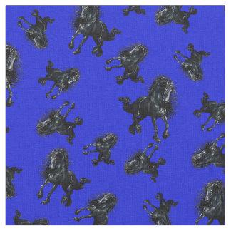 Friesian stallion/black beauty horse, royal blue fabric