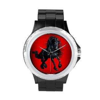 Friesian stallion black beauty horse wristwatches