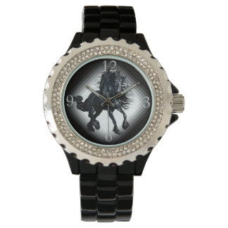 Friesian stallion black beauty horse wrist watches