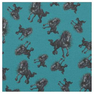Friesian stallion, black beauty horse, zazzle blue fabric