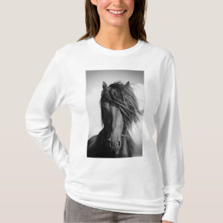 Friesian stallion in the wind. T-Shirt