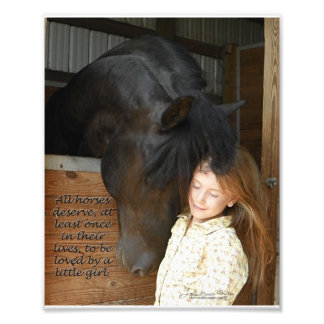 Friesian Stallion Mintse and Little Girl Photo Print