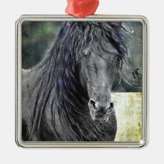 Friesian Stallion Silver-Colored Square Ornament