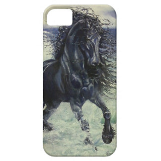 """Friesian Storm"" black stallion in ocean iPhone 5 Case"