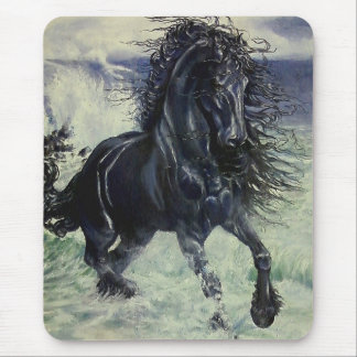 """Friesian Storm"" black stallion in ocean Mouse Pad"