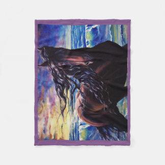 Friesian, The black beauty stallion, Sunset ocean Fleece Blanket