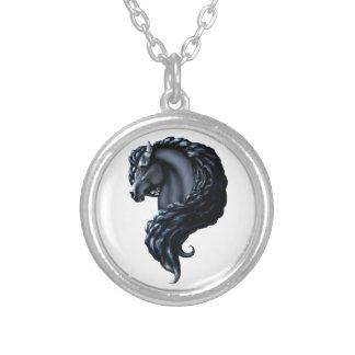 Friesian, the black stallion, horse round pendant necklace