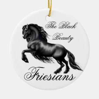 Friesians Round Ceramic Ornament