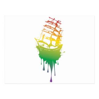 Frigate Ship Grunge2 Postcard
