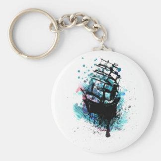 Frigate Ship Sketch2 Basic Round Button Keychain