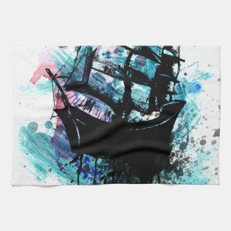 Frigate Ship Sketch2 Hand Towels