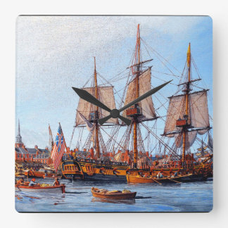 Frigate Warship Navy Ship Boston Harbor Wall Clock