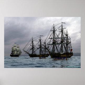 frigates at anchor poster