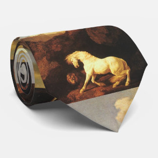 Frightened White Horse by A Lion Tie