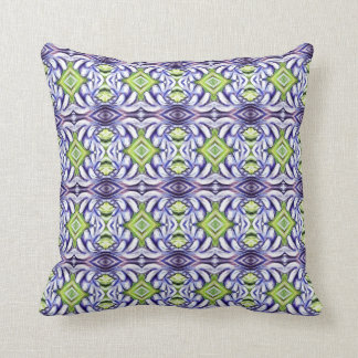 Frilly light purple muted pastel green diamond pillows