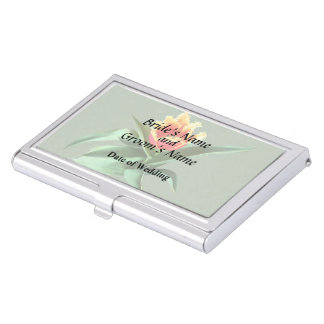 Frilly Orange Tulip Wedding Products Business Card Holders
