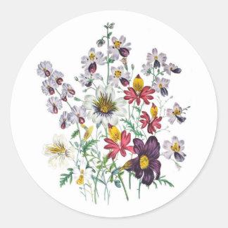 Fringeflowers and Velvet Trumpet Flowers Round Sticker