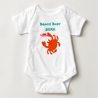 Frisbee Crab Beach Baby Personalized Baby Bodysuit