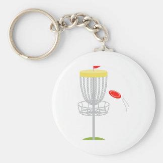 Frisbee Disc Golf Basic Round Button Keychain